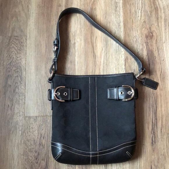 Coach Handbags - Coach classic black medium shoulder bag.